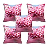 meSleep Pink Flower 3D Cushion Cover Set of 5(16x16) Set of 5