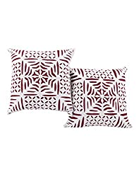 Handmade White Set of 2 Vintage Cushion Cover 16 by 16 Abstract Applique Work Pillow Covers Unique Cotton Throw Pillow By Rajrang