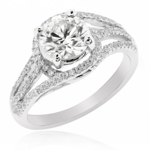 Lenya Wedding Rings (Ring Size 6) - Look Graceful and Charming, Anniversary Sterling Silver Ring with Round Brilliant Cut Cubic Zirconia, Round Brilliant Cut Cubic Zirconia