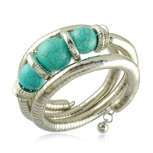 Turquoise Blue Three Balls Three Levels Silver Wire Bangle Bracelet BB58