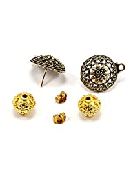 Silvesto India Gold Plated Beads & Brass Plated Earring With Gold Plated Push 6 Psc Jewelry US 19919