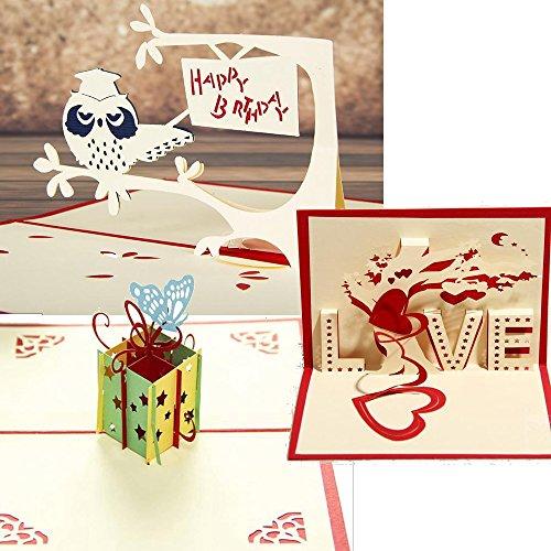 【 お得な3枚セット 】  立体 ポップアップ カード グリーティングカード フクロウ ハート プレゼント お誕生日 結婚式 お祝い No.2