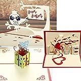 【 3枚セット 】 2 立体 ポップアップ カード グリーティングカード フクロウ ハート プレゼント お誕生日 結婚式 お祝い No.2