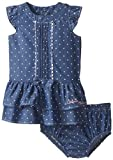 Calvin Klein Baby Girls' Chambray Dress with Panty Ric Rac Trim