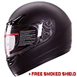 Matte Flat Black Full Face Motorcycle Helmet DOT +2 Visors Comes with Clear Shield and Free Smoked Shield (XL)