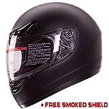 Matte Black Full Face Motorcycle Helmet DOT +2 Visor (Large)