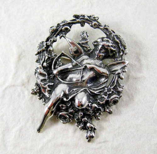 Large Cupid Angel Sterling Silver Pin