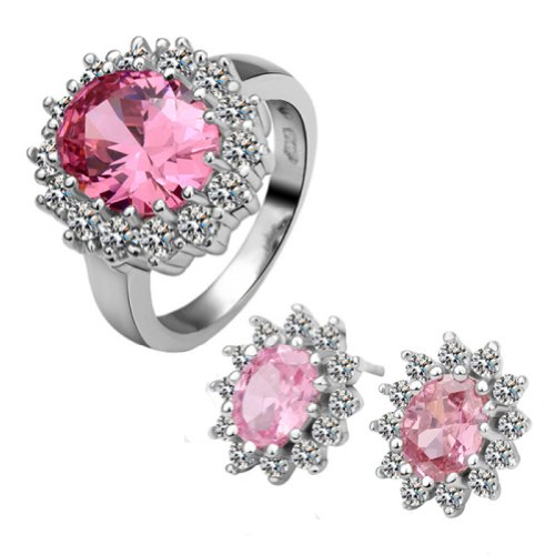 18k Gold Plated Swarovski Elements Crystal CZ Rhinestone jewelry Sets Pink Ring & Earrings