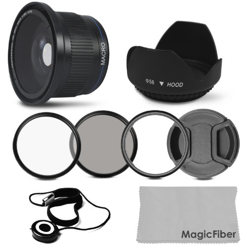 Essential Kit for CANON PowerShot SX10 IS – Includes: 0.40x Wide Angle (w/ Macro Portion) High Definition Lens + Conversion Lens Adapter + UV and Polarizer Filter + Tulip Flower Lens Hood + Center Pinch Lens Cap (w/ Cap Keeper) + MagicFiber Microfiber Lens Cleaning Cloth