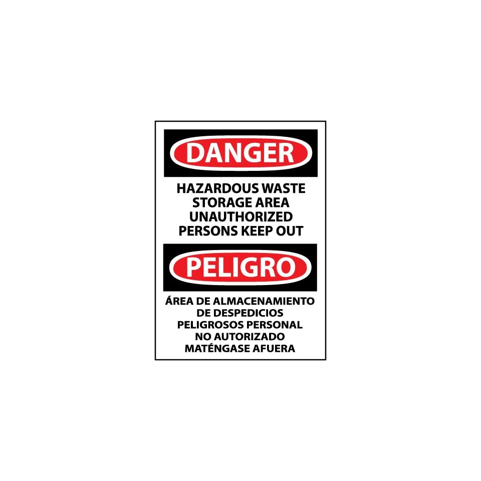 NMC ESD442RB Bilingual OSHA Sign, Legend DANGER   HAZARDOUS WASTE STORAGE AREA UNAUTHORIZED PERSONS KEEP OUT, 10 Length x 14 Height, Rigid Plastic, Black/Red on White
