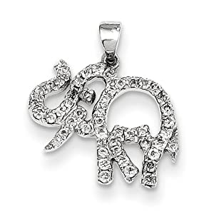 Genuine IceCarats Designer Jewelry Gift 14K White Gold Diamond Elephant Pendant In 14K White Gold