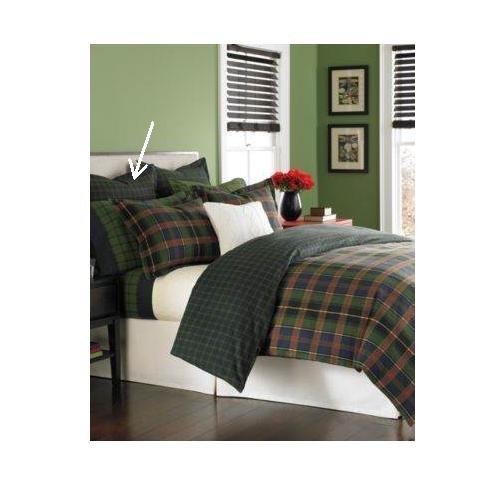 Martha Stewart Haymarket Plaid Flannel Euro Sham Black / Green front-897696