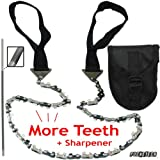 "PockeTech - More Cutting Teeth 26"" Hand Chain Saw, Pouch, and Blade Sharpener - 1 Year 100% Satisfaction Guarantee!"
