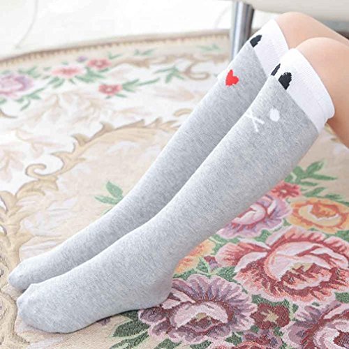 Girl Stockings,Morecome Cute One Pair Baby Children Leg Warmers Cotton Stockings (Gray)