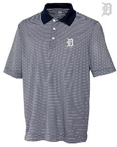 Detroit Tigers Mens DryTec Trevor Stripe Shirt Navy Blue Heather by Cutter & Buck