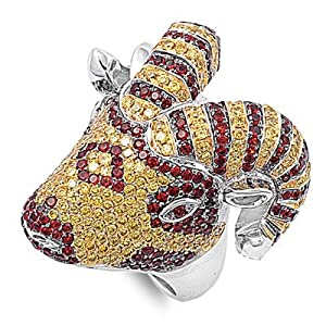Sterling Silver Designer Ram Ring with 498 CZ Stones in Prong Set - Yellow and Ruby CZ - 26mm Face Height - Size 9