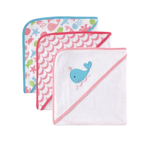 Luvable Friends Hooded Towels, Pink Whale, 3 Count - 1