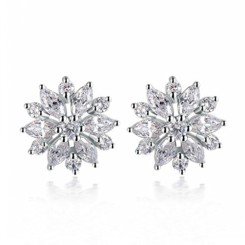 Angelady® Elegant Women Girl Lady Big Austrian Crystal Flowers Diamond Rhinestones Wedding Engagement Bridal Party Luxury Earrings Ear Stud - 1