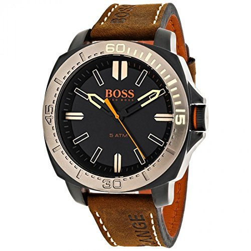 1513314 Watch Hugo boss Men's Orange Stainless steel case, Leather strap, Black dial, Quartz movement, Scratch resistant mineral, Water resistant up to 5 ATM - 50 meters - 165 feet by HUGO BOSS