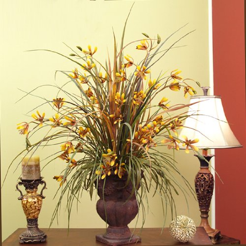 Golden Dendrobium Silk Orchids and Grasses O108-85