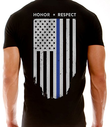 Thin Blue Line American Flag T-Shirt - Vertical Flag - Black (Large) (Law Enforcement Rings compare prices)