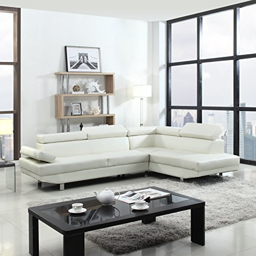2 Piece Modern Contemporary Faux Leather Sectional Sofa - Black, White with Functional Armrest and Back support (White)