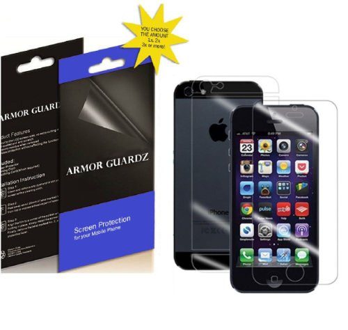 Armor Guardz Front And Back Lcd Screen Protector For Apple Iphone 5 / Iphone 5S / Iphone 5C/5G [3 Pack]
