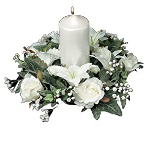 Darice 35573, Candle Ring, Lilies and Roses 6-Inch, Cream White