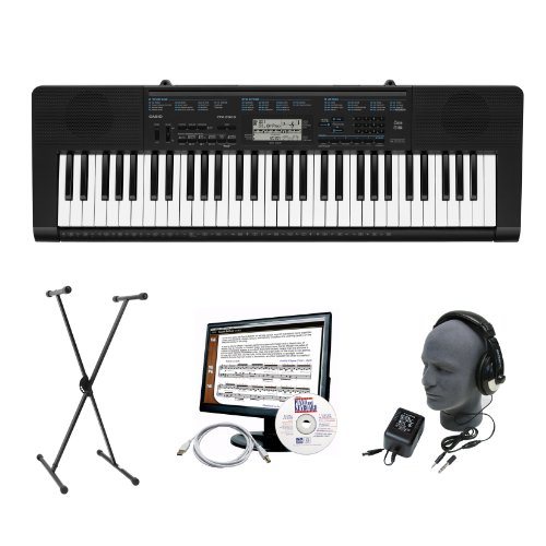 Casio CTK-2300 61-Key Portable Premium Keyboard Package with Headphones, Stand, Power Supply, 6-Feet USB Cable and eMedia Instructional Software