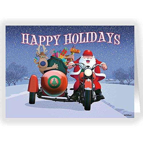 Harley Sidecar Santa Christmas Card- 18 Cards and Envelopes