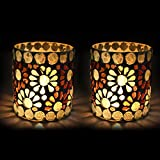 EarthenMetal Handcrafted Traditional Mosaic Design Decorated Tealight Holder (Candle Light Holder) - Set Of 2 - B017G305FS