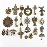 46pcs Assorted 23 Charms Vintage Bronze Alloy Pendants Findings Fit Jewellery Making,Crafts