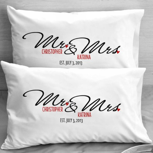 Mr and Mrs Wedding Pillow Cases PERSONALIZED- Gift Ideas for Newlyweds