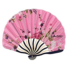 Bamboo Flower Printed Japanese Style Portable Foldable Hand Fan Art