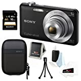 Sony DSC-W710/B 16 MP Digital Camera with 2.7-Inch LCD (Black) + Sony 16GB Memory Card + Sony Camera Case + Accessory Kit