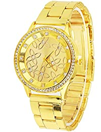 Gold Carving Flowers Chronograph Look Analog Display Analog Quartz Two Tone Watch With Crystals