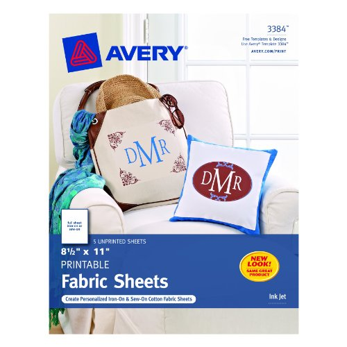 Avery Printable Fabric for Inkjet Printers, 8.5 x 11 Inches, Pack of 5 (03384) (Photo Fabric Iron compare prices)