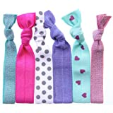 Twistband SWEET PEA Hair Tie Pack of 6, Green metal / Raspberry / Grey dots on white /lavender/ Fuchsia heart Pattern S/Mint/ Rose metal