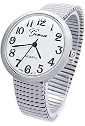 Gray Silver Stretch Band Matte Finish Large Face Women's Watch