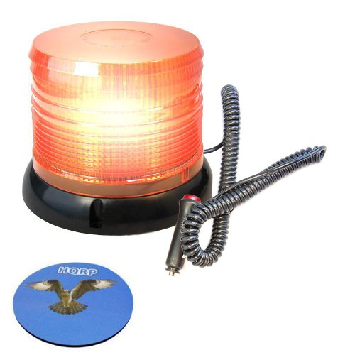 Hqrp Dc 12V Ac Revolving Flash / Intermittent Flash Amber Beacon Led Strobe Light With Magnetic Base For Safety Road And The Roadside Construction & Repair Works Plus Hqrp Coaster