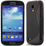 Grip S-Line Wave Silicone Gel Case Cover for Samsung Galaxy S4 Mini i9190 with Screen Protector - Black