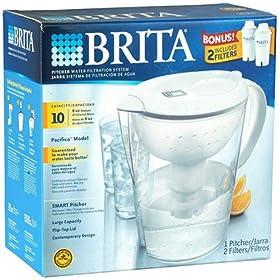 Brita Pacifica Smart Pitcher Water Filtration System with 2 Bonus Filters and 2 Bonus 24oz Nalgene On The Go TRITAN Bottles