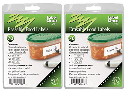 Jokari Label Once Erasable Food Labels Refill Pack, 70-Count X 2 Pack