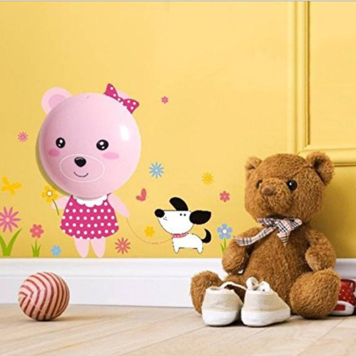 Hestian Kids Small Night Light DIY 3d Wallpaper Novelty Cartoon Wall Stickers with Sensor Plug-in Wall Night Lamp for Kids' Bedroom - Bear