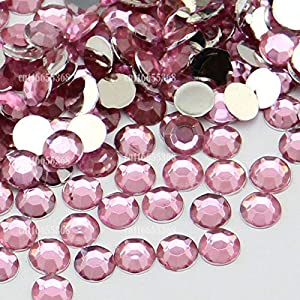 Leo-4Beauty - 10000 pcs 6mm 6.5mm Shiny Resin Rhinestone 14 Facets Gem Flat Back Crystal Beads DIY Beauty Nail Art Phone Case (Color: pink N03)