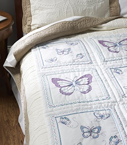 BUCILLA 46067 Butterfly Stamped Quilt Blocks