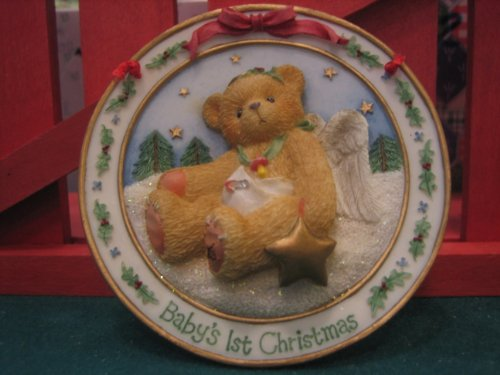"""Cherished Teddies """"Baby'S First Christmas""""-(Sculpted Plate Hanging Ornament) front-1038452"""