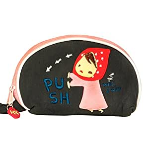 [Smiling Girl] Embroidered Applique Wrist Wallet Coin Purse Wrist Pack (5.9*3.9)