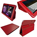 IGadgitz Red Genuine Leather Portfolio Case Cover for Samsung Galaxy Tab P7500 P7510 10.1 3G & WiFi Android 3.1 Honeycomb Internet Tablet