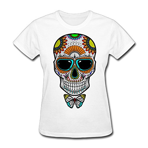 Women's Candy Skull Short Sleeve T-Shirt White XXL (Gamecock Candy Jar compare prices)